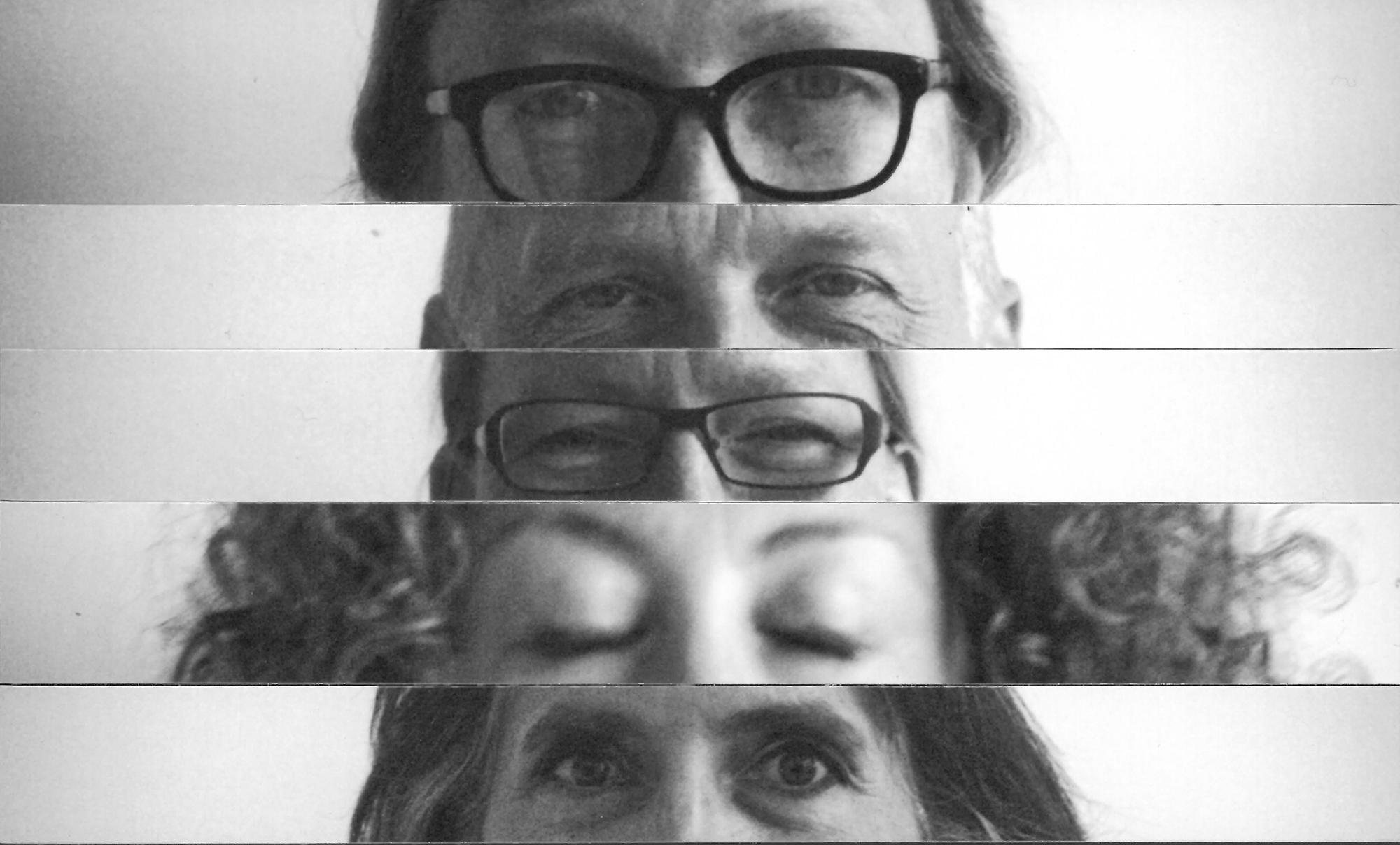 Collage verschieder Köpfe. Jeweils nur Augen